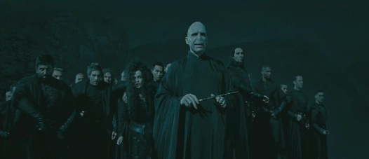 Voldemort with his Death Eaters